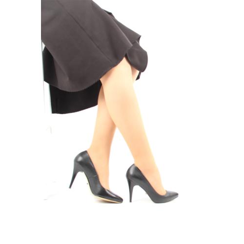 Gön Siyah Deri Kadın Ayakkabı 22376