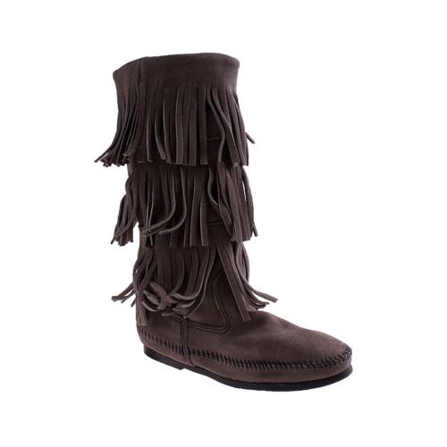 Minnetonka Calf Hi 3Layer Boot 1631T Kadın Ayakkabı Grey Suede