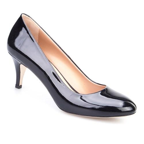 Cabani Kısa Topuklu Günlük Kadın Ayakkabı Siyah Rugan