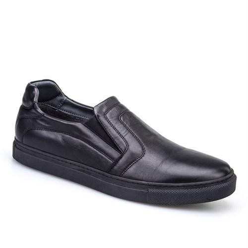Cabani Dikişli Sneaker Erkek Ayakkabı Siyah Deri