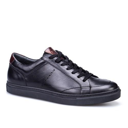 Cabani Bağcıklı Spor Erkek Ayakkabı Siyah Deri