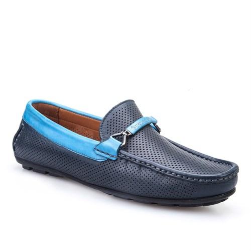 Cabani Kemerli Makosen Günlük Erkek Ayakkabı Lacivert Kırma Deri