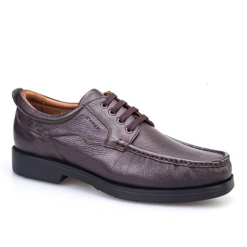 Cabani Bağcıklı Günlük Erkek Ayakkabı Kahve Kırma Deri