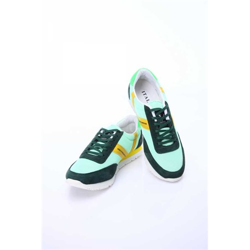Versace 19.69 Abbigliamento Sportivo Srl. 19V69 Italia Erkek Koyu Yeşil Deri Spor Ayakkabı 5Vxm60410047