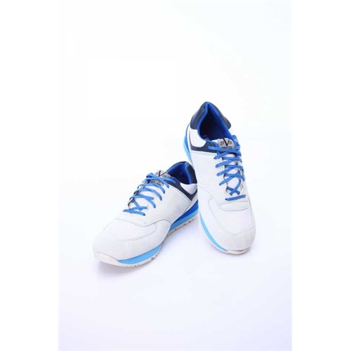 Versace 19.69 Abbigliamento Sportivo Srl. 19V69 Italia Erkek Beyaz-Saks Deri Spor Ayakkabı 5Vxm60473482