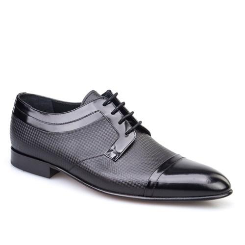 Cabani Baskılı Klasik Erkek Ayakkabı Siyah Açma Deri