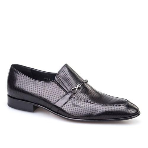 Cabani Lazerli Tokalı Klasik Erkek Ayakkabı Siyah Buffalo Deri