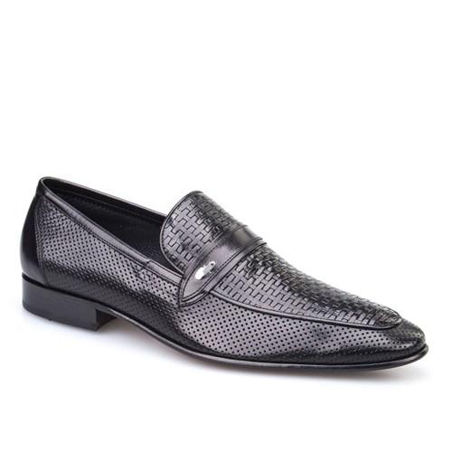 Cabani Lazerli Klasik Erkek Ayakkabı Siyah Buffalo Deri