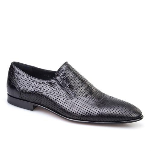 Cabani Croco Baskı Klasik Erkek Ayakkabı Siyah Croco Deri