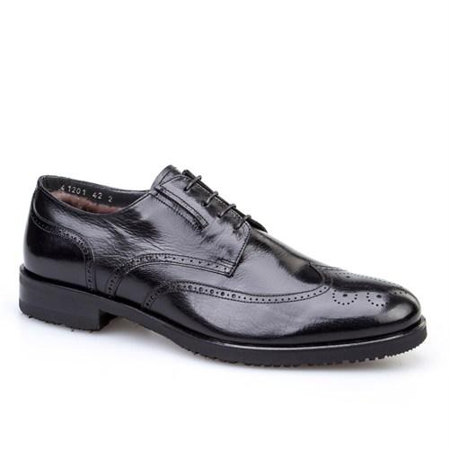 Cabani Kürklü Klasik Erkek Ayakkabı Siyah Buffalo Deri