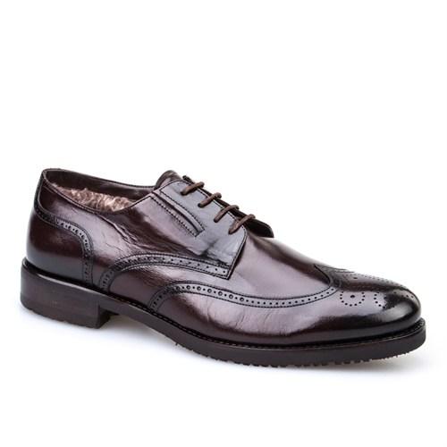 Cabani Kürklü Klasik Erkek Ayakkabı Kahverengi Buffalo Deri