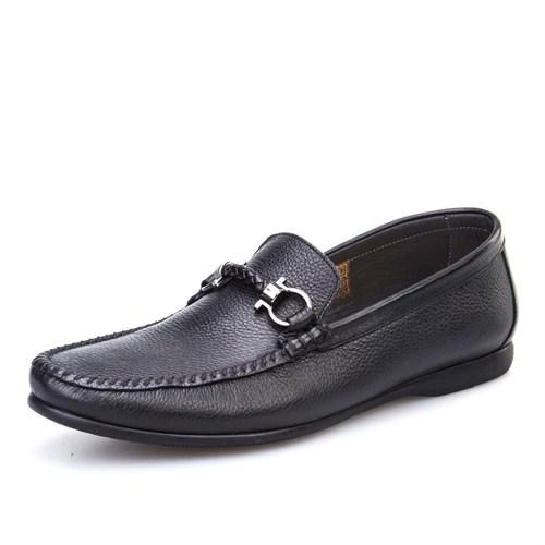 Cabani Tokalı Günlük Erkek Ayakkabı Siyah Kırma Deri