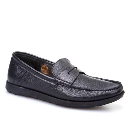Cabani Kemerli Günlük Erkek Ayakkabı Siyah Kırma Deri