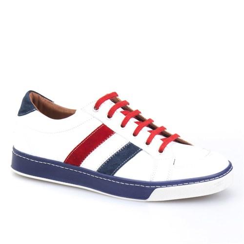 Cabani Bağcıklı Spor Erkek Ayakkabı Beyaz Kırma Deri