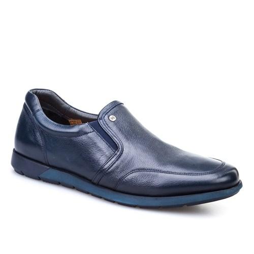 Cabani Bağcıksız Günlük Erkek Ayakkabı Lacivert Kırma Deri