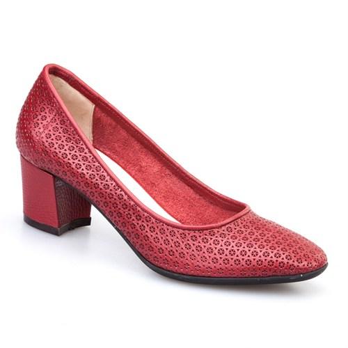 Cabani Baskılı Günlük Kadın Ayakkabı Bordo Kırma Deri