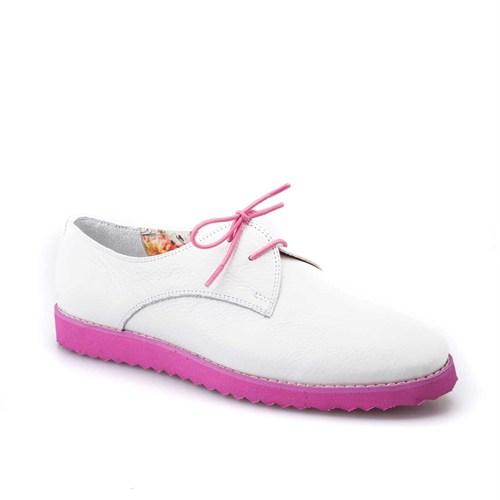 Cabani Kadın Ayakkabı Beyaz Kırma Deri