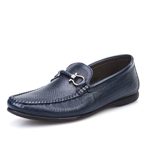 Cabani Lazerli Günlük Erkek Ayakkabı Lacivert Kırma Deri