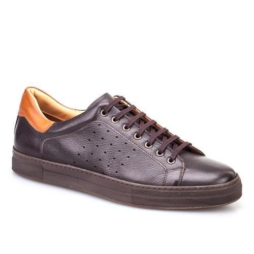 Cabani Bağcıklı Spor Erkek Ayakkabı Kahve Kırma Deri