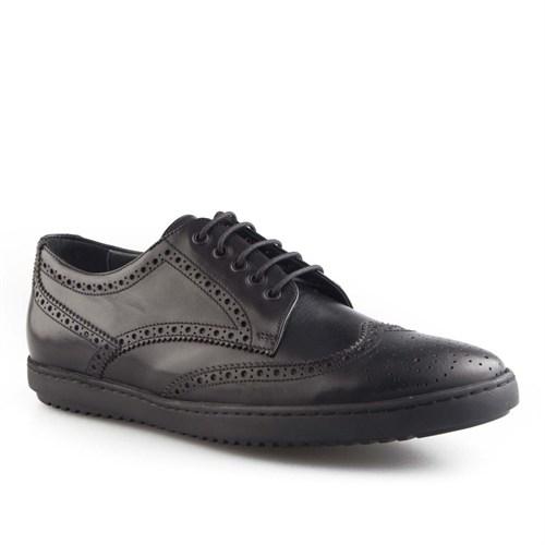Cabani Bağcıklı Günlük Erkek Ayakkabı Siyah Kırma Deri