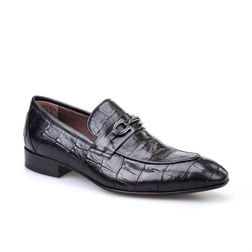 Cabani Günlük Erkek Ayakkabı Siyah Croco Deri