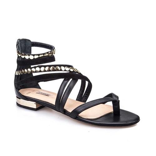 Cabani Kadın Sandalet Siyah Deri