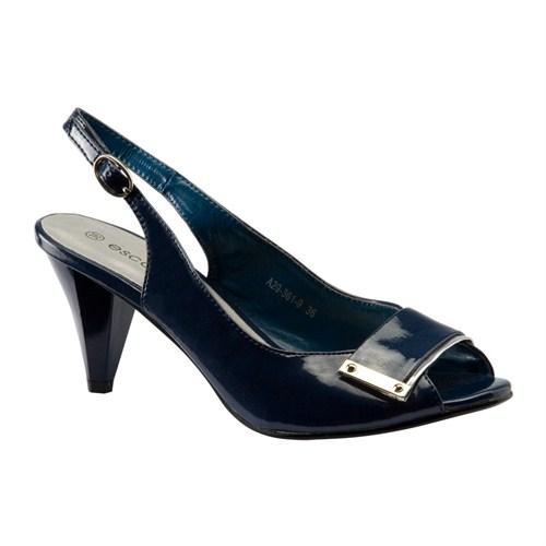 Escarpine Tokalı Lacivert Kadın Ayakkabısı