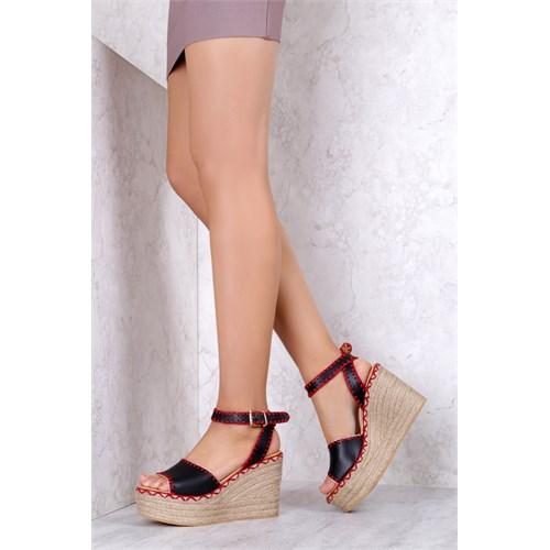 İlvi Mexica 9900 Siyah Kırmızı Sandalet