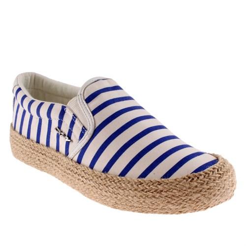 Dkny Beth Jute Stripe Print Canvas 23156360 Kadın Ayakkabı Whıte Laps Blu
