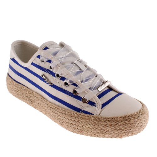 Dkny Barbara Jute Stripe Print Canvas 23158743 Kadın Ayakkabı Whıte Laps Blu