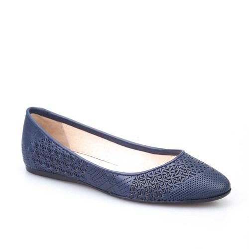 Cabani Desenli Günlük Kadın Ayakkabı Lacivert Deri