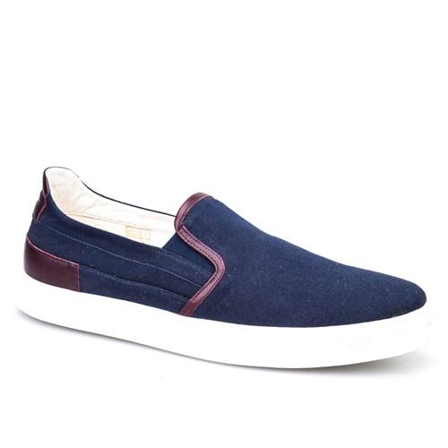 Cabani Bağcıksız Sneaker Erkek Ayakkabı Lacivert Keten