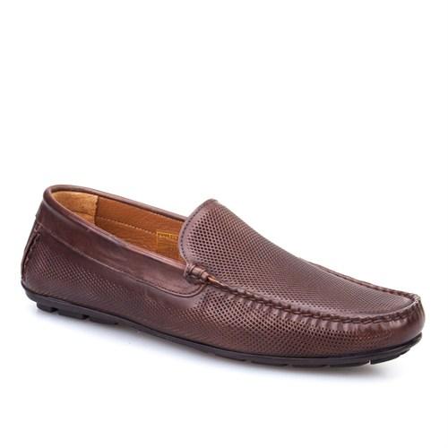 Cabani Lazerli Makosen Günlük Erkek Ayakkabı Kahverengi Sanetta Deri