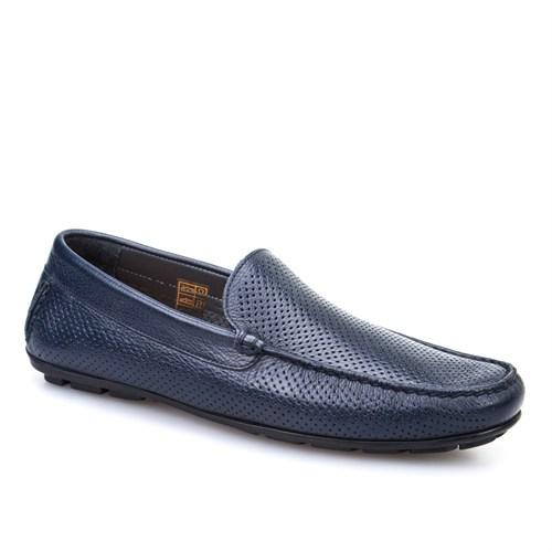 Cabani Lazerli Makosen Günlük Erkek Ayakkabı Lacivert Kırma Deri