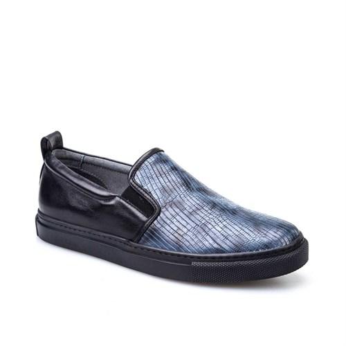 Cabani Günlük Erkek Ayakkabı Mavi Yılan Deri