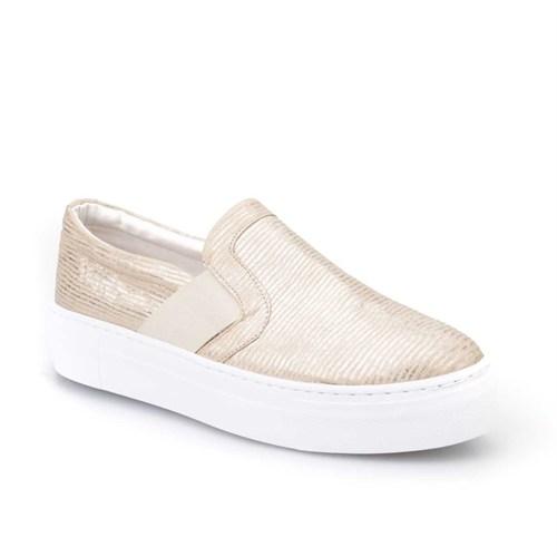 Cabani Yılan Baskı Sneaker Kadın Ayakkabı Altın Rengi