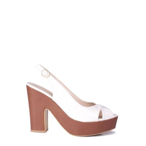Loggalin 520907 031 165 Kadın Taba Beyaz Platform Ayakkabı
