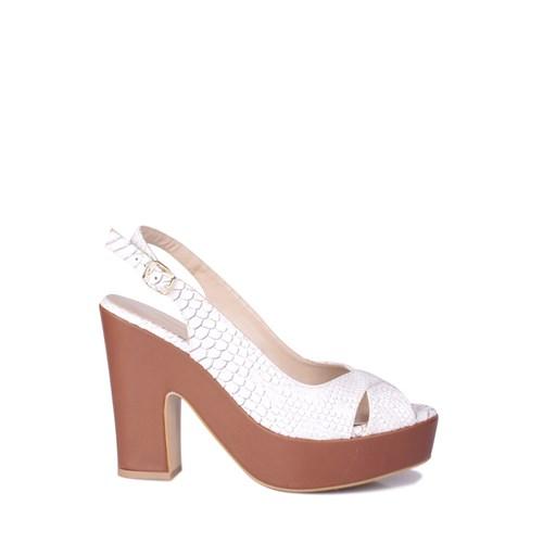 Loggalin 520907 031 168 Kadın Taba Beyaz Platform Ayakkabı