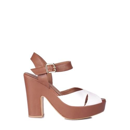 Loggalin 520909 031 165 Kadın Taba Beyaz Platform Ayakkabı