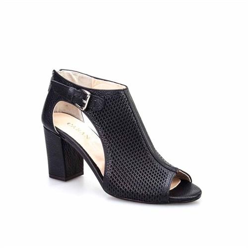 Cabani Kadın Ayakkabı Siyah Kırma Deri