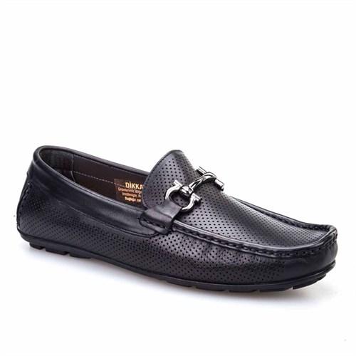 Cabani Lazerli Makosen Günlük Erkek Ayakkabı Siyah Analin Deri