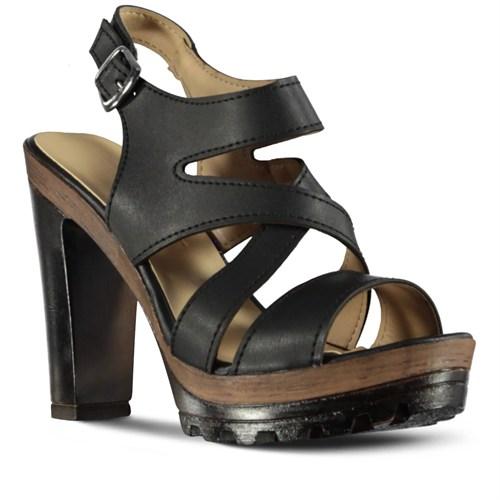 Marjin Nesa Topuklu Sandalet Siyah