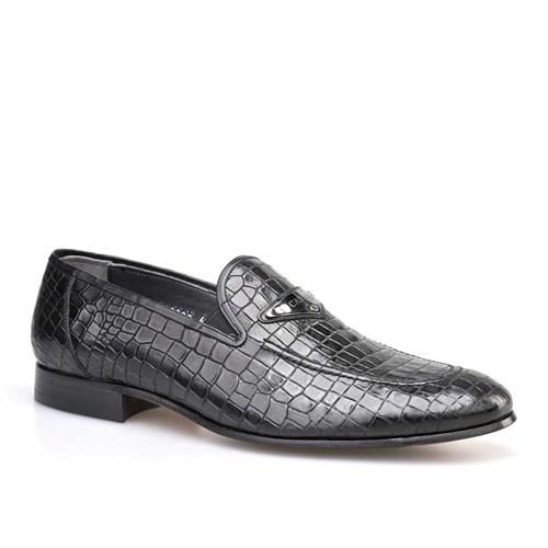 Cabani Tokalı Klasik Erkek Ayakkabı Siyah Croco Deri