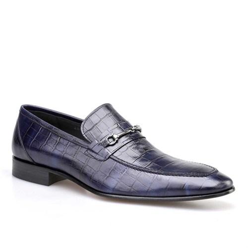 Cabani Tokalı Klasik Erkek Ayakkabı Lacivert Croco Deri
