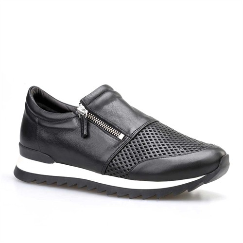 Cabani Fermuarlı Kadın Ayakkabı Siyah Deri