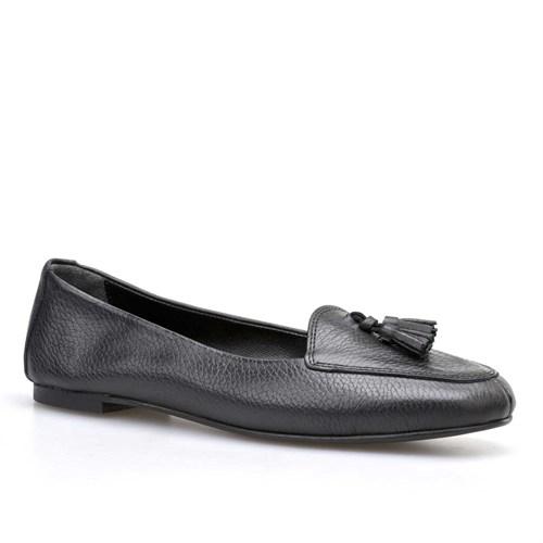Cabani Püsküllü Kadın Ayakkabı Siyah Kırma Deri