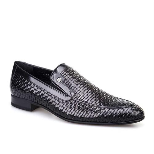 Cabani Örgülü Klasik Erkek Ayakkabı Siyah Buffalo Deri