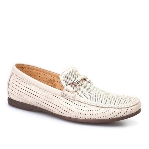 Cabani Lazerli Günlük Erkek Ayakkabı Bej Kırma Deri