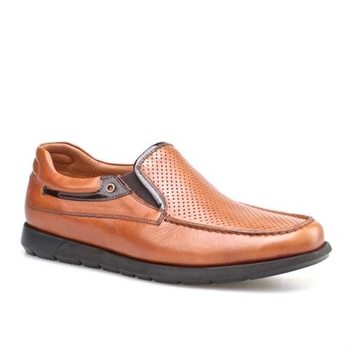 Cabani Lazerli Günlük Erkek Ayakkabı Taba Kırma Deri