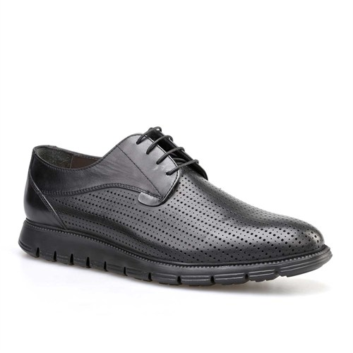 Cabani Lazerli Günlük Erkek Ayakkabı Siyah Analin Deri